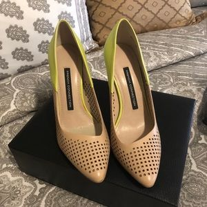 💚French Connection💚Nude/Lime Green Pumps